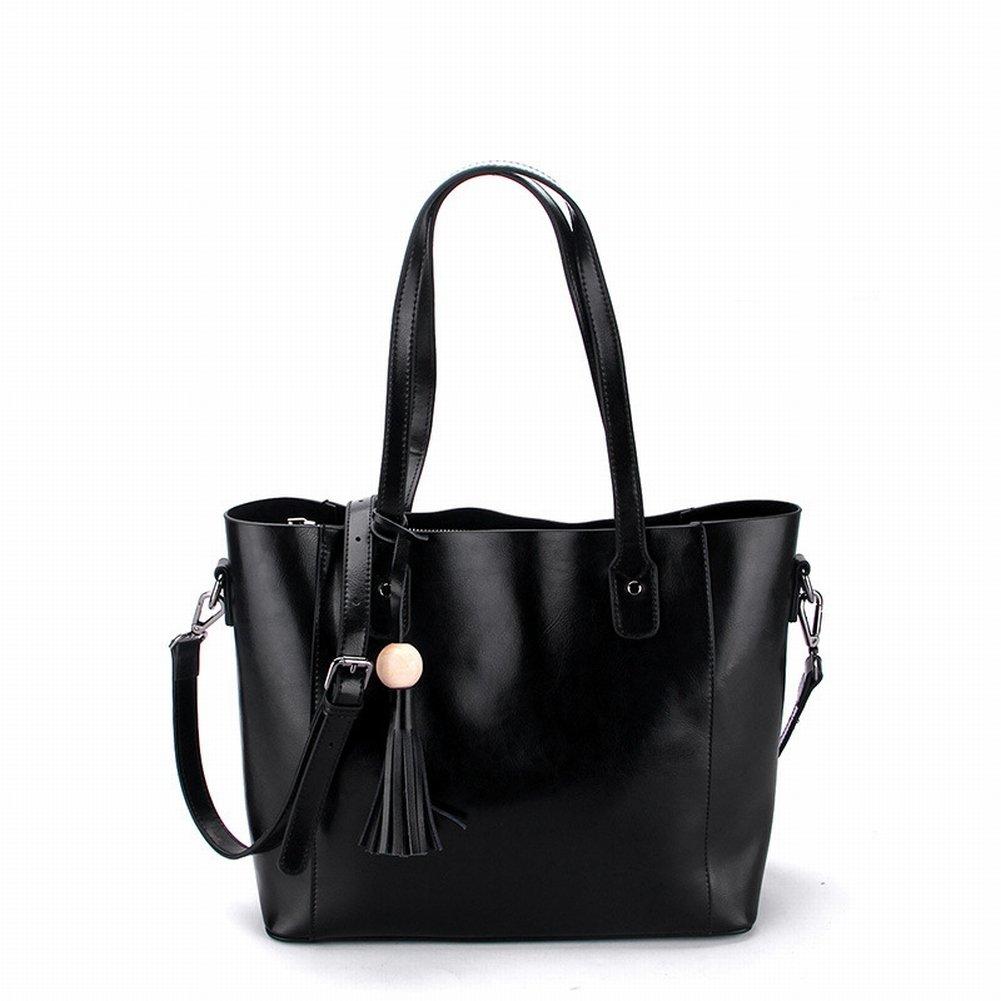 Ölwachs Handtasche Handtasche Schulter Diagonal Handtaschen , schwarz