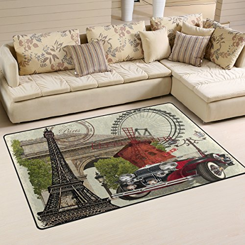 (Distressed Eiffel Tower French Paris Arc De Triomphe Ferris Wheel Windmill Car Area Rug Pad Non-Slip Kitchen Mat for Living Room Bedroom 3'3