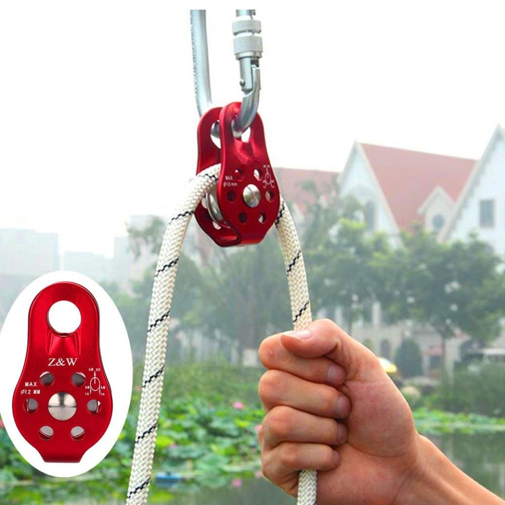 Redvive 20KN Single Pulley Block Stainless Steel Heavy Duty Hardware Single Wheel Swivel Rigging Lifting Wheel Fixed Pulley Survival Equipment For Mountaineering Caving Rescue Climbing