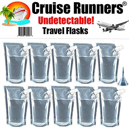 CRUISE RUNNERS Brand Ship Kit Flask 10 32oz Sneak Alcohol Runner Rum Liquor Smuggle Booze Bags Runners 10 x 32oz - Plastic Rum
