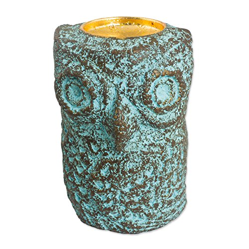 NOVICA 'Green Thai Owl' Recycled Paper Tealight Candleholder by NOVICA