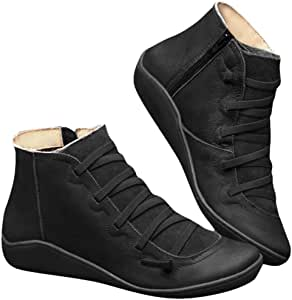 SCGRHP 2020 New upgradew Arch Support Boots- Women's Leather Comfortable Damping Shoes Fashion Side Zipper Platform Wedge Booties Casual Shoes Women's Boots Flats Comfortable