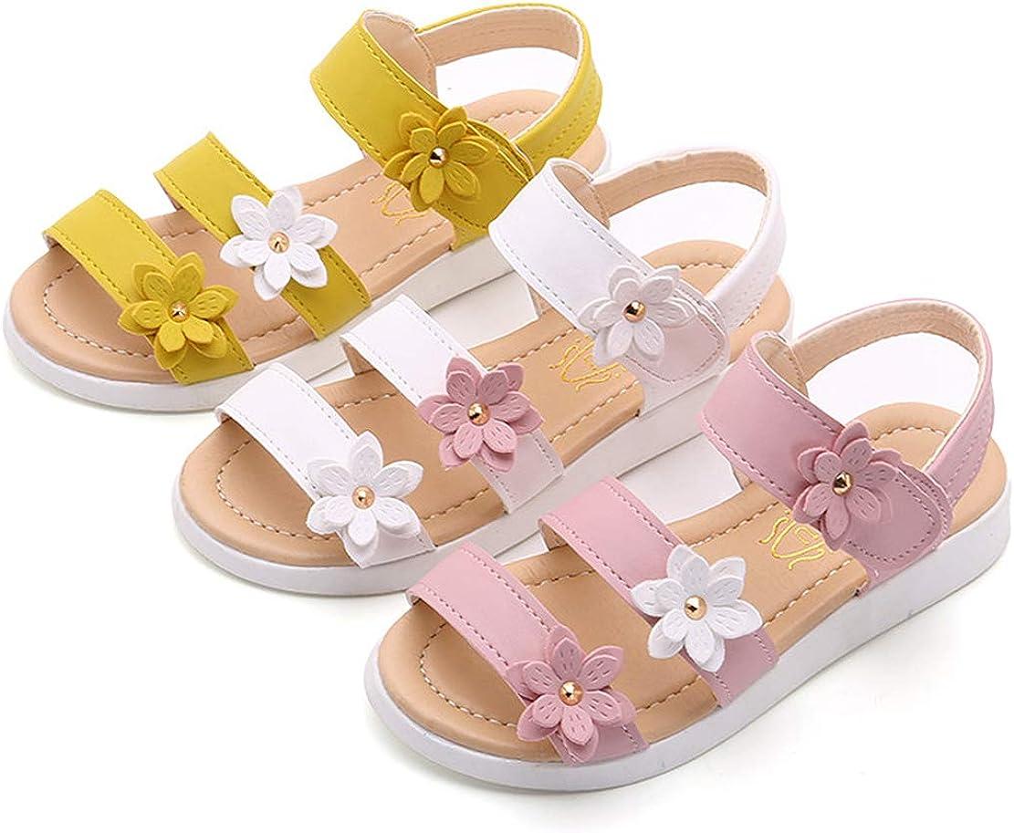 QZBAOSHU Fille Sandales avec Trois Fleurs Cuir Chaussures Sandales pour Peu Fille