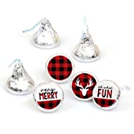 Prancing Plaid - Christmas & Holiday Buffalo Plaid Party Round Candy Sticker Favors - Labels Fit Hershey's Kisses (1 sheet of 108)