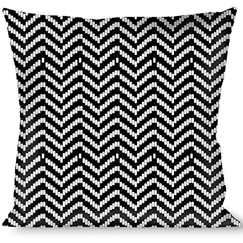 Black And White Herringbone (Buckle-Down Throw Pillow Jagged Black/White, Herringbone)