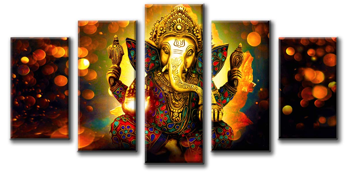Djsylife Hindu God Ganesha Wall Art Canvas Printed For Living Room Decorative Painting Modern Home Decor 5pcs Hd Print Lord Ganesha Elephant Picture