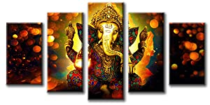 "DJSYLIFE Hindu God Ganesha Wall Art Canvas Printed for Living Room Decorative Painting Modern Home Decor 5pcs HD Print Lord Ganesha Elephant Picture Art Wall Framed Ready to Hang (40"" W x 22"" H)"