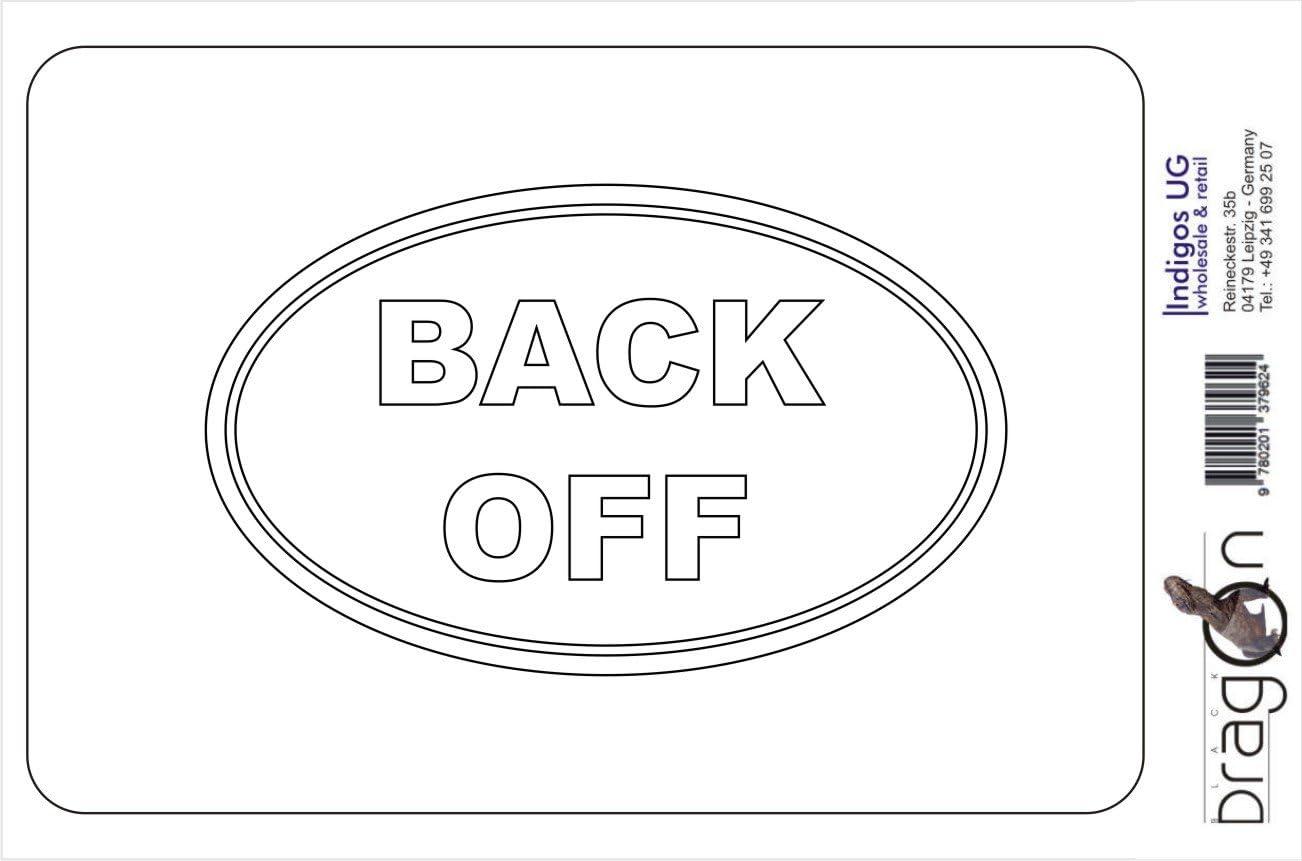 BACK OFF EURO OVAL Vinyl Car Decal Sticker Die cut JDM Pink 139mm x86mm Sticker // Decal