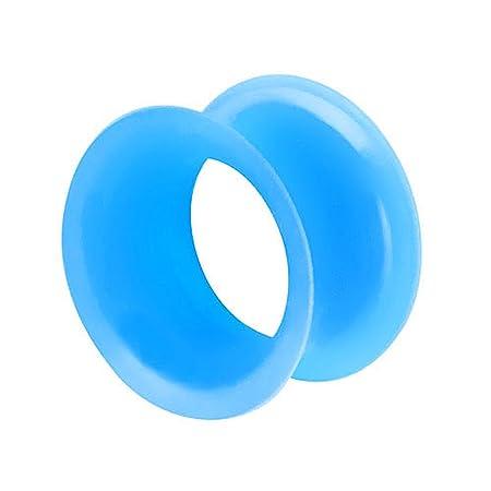 Piercingfaktor Flesh Tunnel Ohr Ear Plug Piercing Silikon Hoher dünner Rand Flexibel Weich Rund Creole Farbig