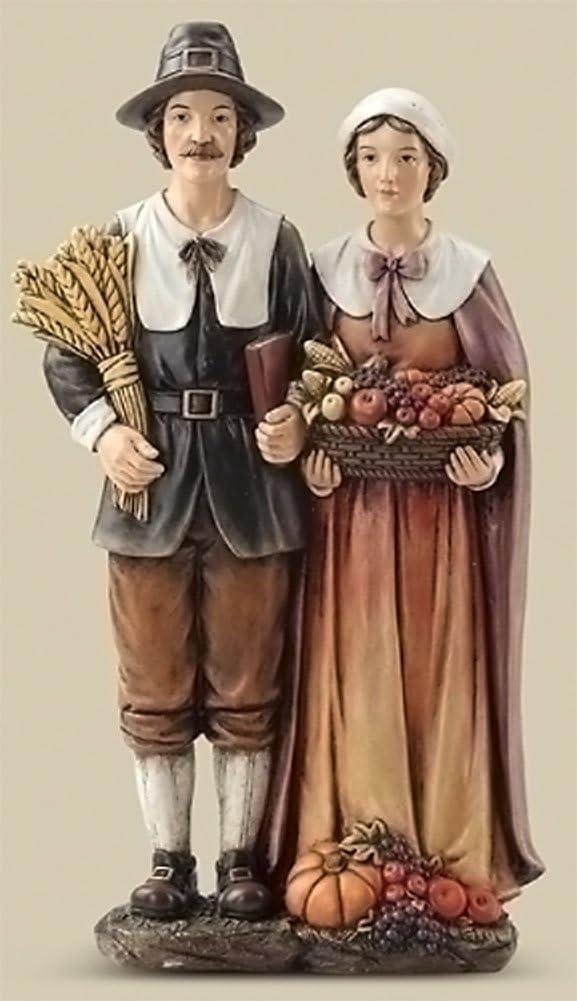 Harvest Brown Pilgrim Couple 14 inch Resin Stone Decorative Tabletop Figurine