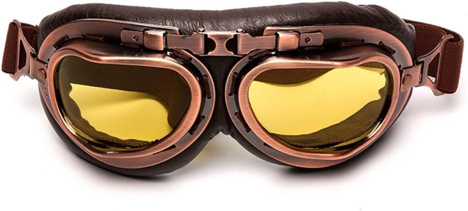League Co Steampunk Helm Motorradbrille Schutzbrille Fliegerbrille Für Harley Davidson Honda Yamaha Usw Gelb Sport Freizeit