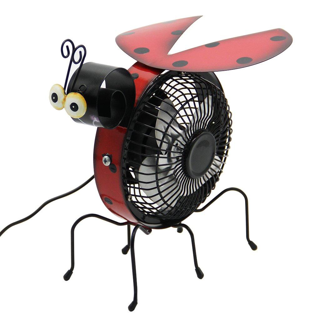 Maggift Table Fan, Mini USB Desk Fan, Metal Beatles Design, Quiet Operation, High Compatibility (Black)