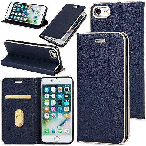 Hülle für iPhone 7 ,Schutzhülle Für IPhone 7 Schöner eleganter magnetischer Verschluss PU-lederner schützender Abdeckungs-Fall ,cover für apple iPhone 7,case for iphone 7 ( Color : Blue )