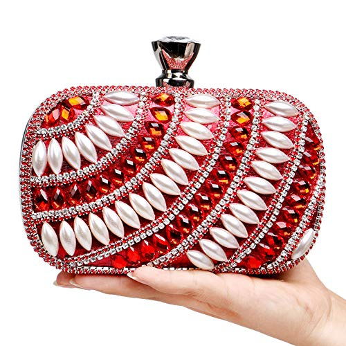 Party Womens Elegant Pearls Clutches Handbags Bags For Evening Purse Wallet Red Chain ZBOrRZpqxw