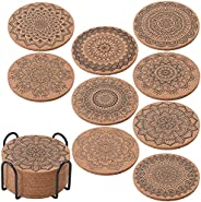 ionEgg Cork Coasters for Drinks Reusable Cup Coaster for Cold or Warm Drinks, Pack of 9 with Metal Holder