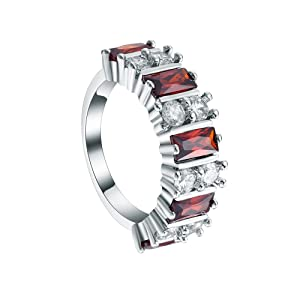 Womens Sterling Silver Red CZ Cublic Zircon Band Finger Ring Party Engagement Jewelry US Size 6,7,8,9