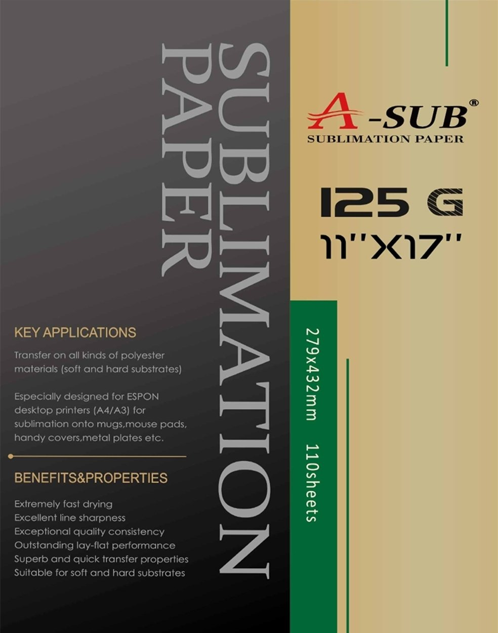 A-SUB Sublimation Paper 11x17 inch for All Inkjet Printer with Sublimation Ink,110 Sheets