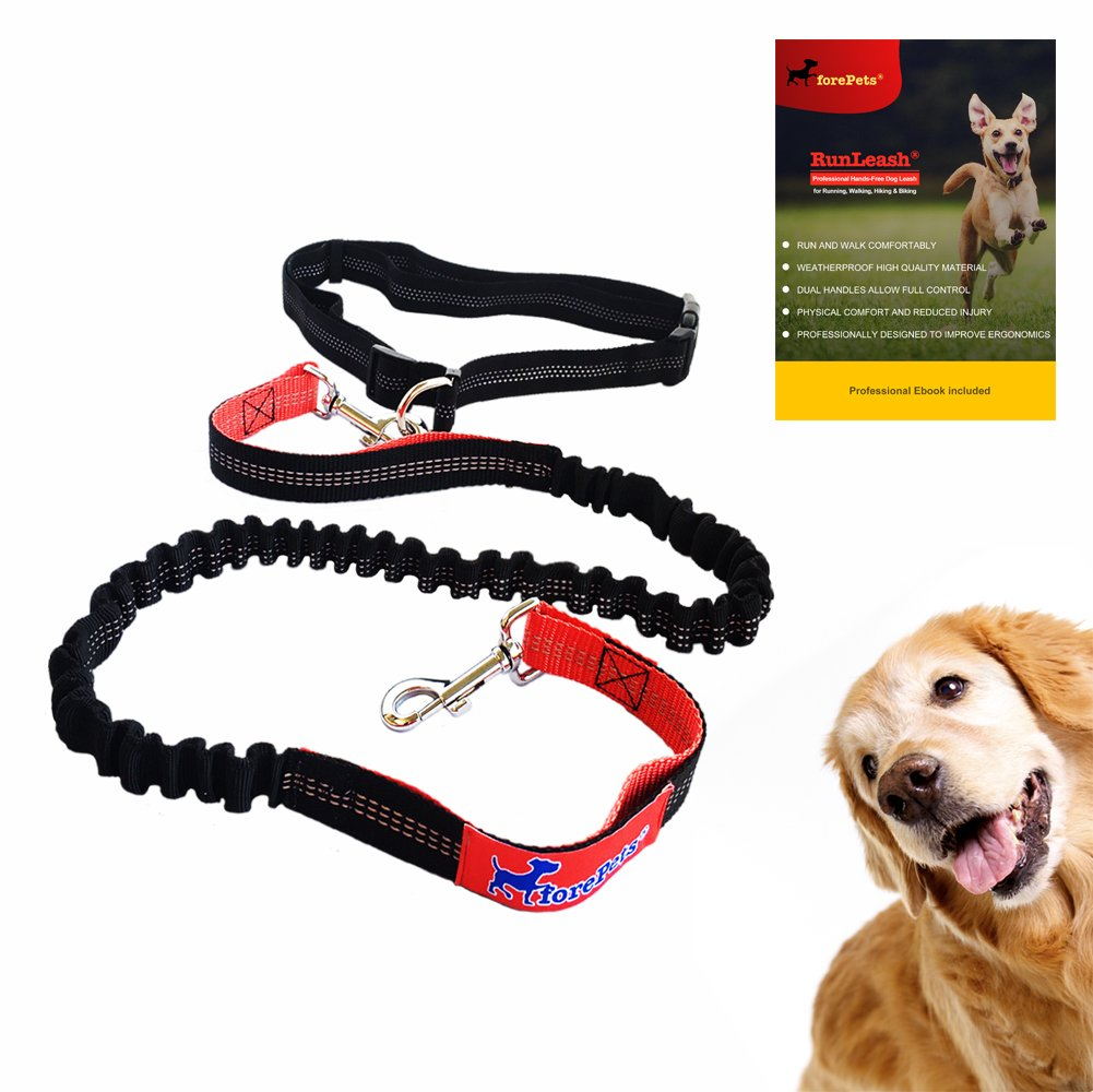 Professional Hands-Free Dog Leash Running, Walking, Hiking & Biking   Best New Improved Lightweight Version   Dual Control Handles   Adjustable Large Small Dogs