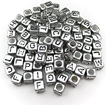 Acrylic Single Letter A-Z Alphabet Beads 6mm 500 WHITE CUBE BEADS