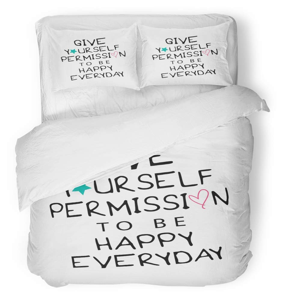 Emvency 3 Piece Duvet Cover Set Breathable Brushed Microfiber Fabric Give Yourself Permission to Be Happy Everyday Inspirational Motivational Quote Bedding Set with 2 Pillow Covers Twin Size