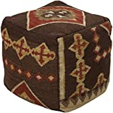 Surya POUF-19 Hand Made 100% Hard Twist Wool Chocolate 18'' x 18'' x 18'' Pouf