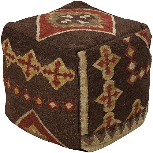 Surya POUF-19 Hand Made 100% Hard Twist Wool Chocolate 18