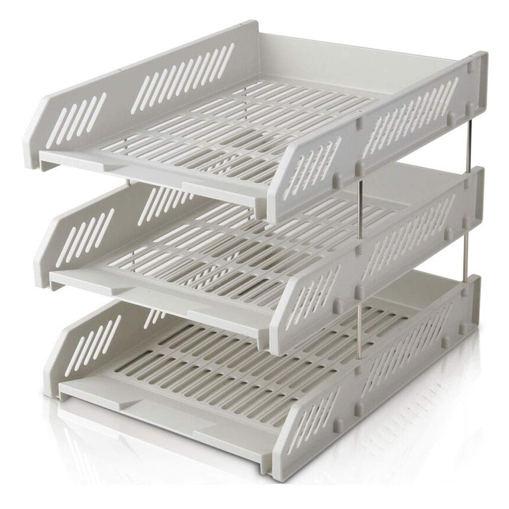 File Holder Archivo de Tres Capas File File Tray File Cesta de plástico File Tray Detachable Data Holder (Color : Gris, tamaño : 26  33.8  26cm) 041814