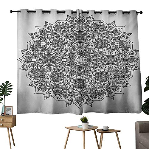 NUOMANAN Light Blocking Curtains Mandala,Flower and Leaf Old Arabic Ottoman Ancient Mandala Chart Life Web Meditation Print,Black White,Tie Up Window Drapes Living Room 42