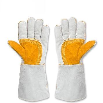 Guantes de soldadura de soldador de cuero de protección contra el desgaste de alta temperatura de ...