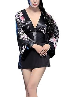 Saoye Fashion Lenceria Erotica De Mujer Kimono Japones Disfraz Cosplay Manga Larga V Cuello Vintage Estampado