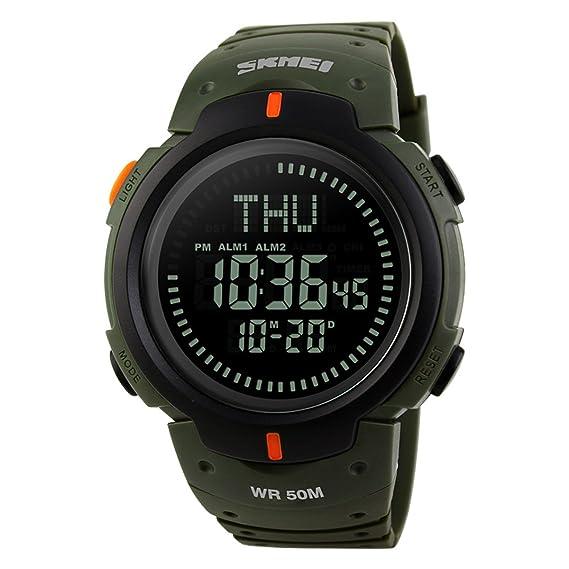 Reloj Digital Militar Deportivo para Hombre, Resistente al Agua, con Alarma LED, con brújula, Resistente al Agua, 50 m, Color Verde: Amazon.es: Relojes