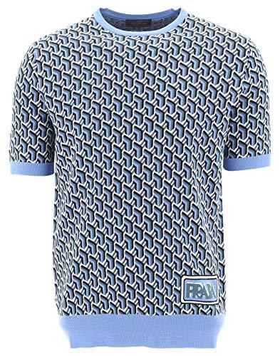(Prada Men's Uma1231s9qf0237 Blue Wool T-Shirt)