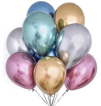 ef9ece16b1 PuTwo Chrome Balloons, 50 pcs 12 Inch Gold Metallic Balloons Chrome Balloons  Purple Blue Metallic