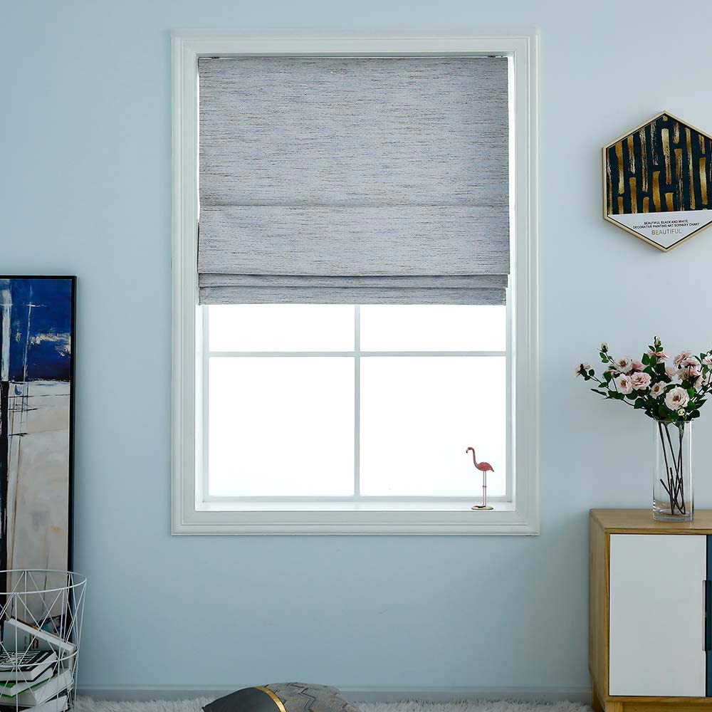 "Everyday Celebration Washable Room Darkening Cordless Roman Shades for Windows, Double Tone Color Jacquard Textured Woven Roman Blind for Living Room/Nursery/Bedroom 34"" W × 64"" L Stone"