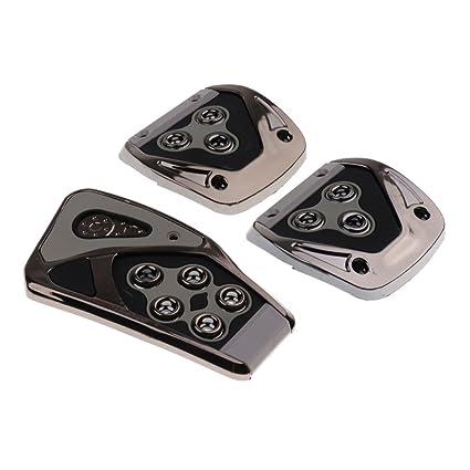 Baoblaze Pedal de Freno Acelerador Antideslizante Non-Slip para Coche Carro 3 Piezas - Plata