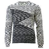 Calvin Klein Men's Cotton Boucle Parall Sweater, Black/White, Large