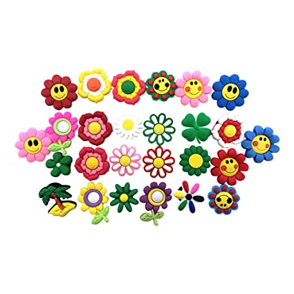 9f7b3b669a812 26pcs Cute Small Flower Shoe Charms for Croc Shoes & Wristband Party Gifts