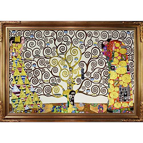 Klimt Paintings Gustav Landscape - La Pastiche KLG2143-FR-608G24X36 Framed Oil Painting The Tree of Life, Stoclet Frieze, 1909 Metallic Embellished by Gustav Klimt with Florentine Gold Frame