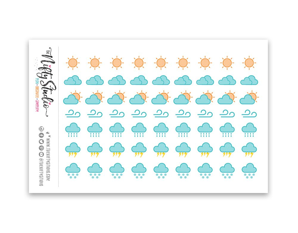 Weather Tracking Stickers | Planner Stickers | 1 sheet of 63 stickers | The Nifty Studio [168]