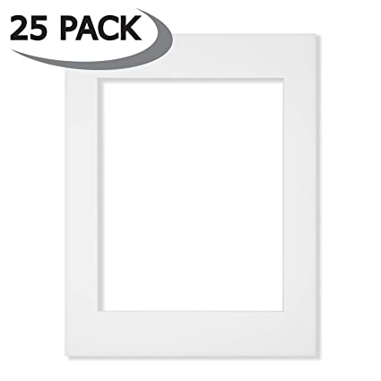 Amazon.com: 25 Pack of 11x14 White Picture Mats Core Bevel Cut for ...