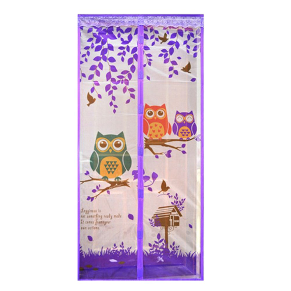 Demiawaking Magnetic Owls at Branch Fly Insect Door Screen Mesh Curtain Mosquito Net for Balcony Sliding Doors Living Room Children's Room (100 x 210 cm, Purple) DemiawakingUK