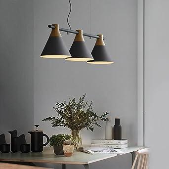 ... Esstisch Pendellampe Holz Und Metall Hängeleuchte 3 Flammig  Höhenverstellbar Hängelampe E27 Leuchtmittel Für Esszimmer/Wohnzimmer/Büro/cafe  Leuchtmittel ...