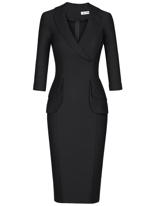MUXXN Women's OL Style 3/4 Sleeve Bodycon Slim Vintage Dress (Black S) by MUXXN