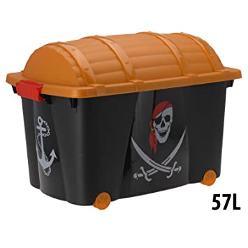 Caja para juguetes Caja con ruedas Baúl para juguetes infantiles Cofre Tesoro del Pirata: Amazon.es: Juguetes y juegos