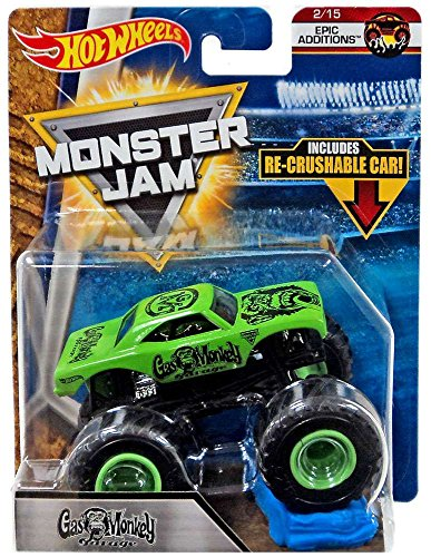 2018 Hot Wheels Monster Jam Epic Additions 2/15 - Gas Monkey Garage (Includes Re-Crushable Car) Monster Wheel