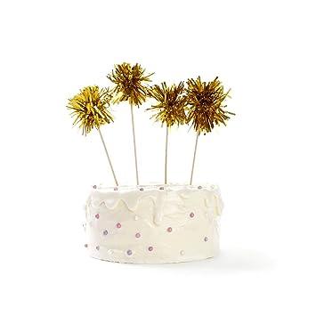 Amazoncom Gold Birthday Fireworks Cake Topper Set of 4 1st