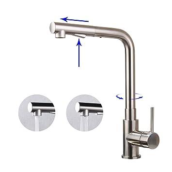 Homelody Küchenarmatur Wasserhahn Armatur mit Ausziehbar Brause ...