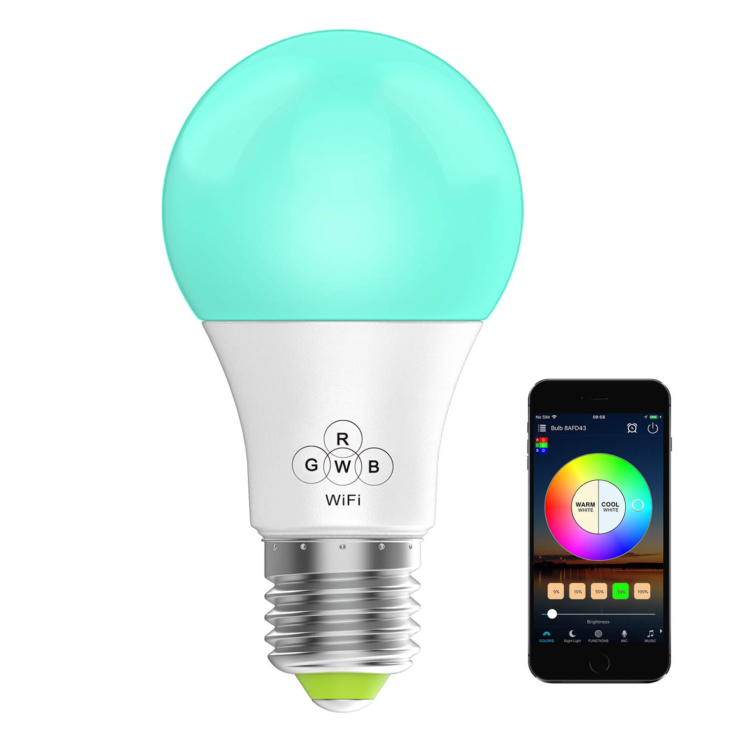 Konxie LED WiFi Smart Lights Bulb, Compatible with Alexa and Google Assistant and IFTTT,e27 a19 RGBW Edison Bulb, No Hub Required, Music Mode,Sunrise, Sunset Mode