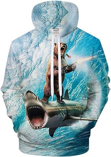 Shark 3D Bear Hoodie Hombres Divertidos Sudadera Chándal Chaqueta ...