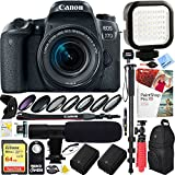 Canon EOS 77D 24.2 MP DSLR Camera Wi-Fi & Bluetooth with EF-S 18-55mm IS STM Lens (1892C016) - 64GB SDXC Dual Battery & Mic Pro Video Bundle